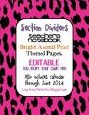 Editable Animal Print Bright Themed Teacher Notebook Divid