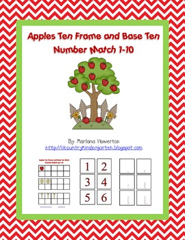 Apples Ten Frame and Base Ten Number Match