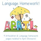 April Speech & Language Homework Freebie!