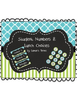 Aqua blue quatrefoil, lime green stripe chalkboard lunch c