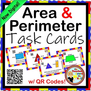Area and Perimeter Task Cards - 24 cards with models