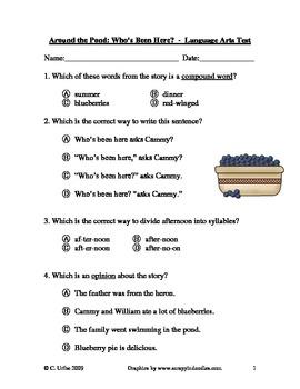 Around the Pond: Who's Been Here? ~ Language Arts Quiz/Test