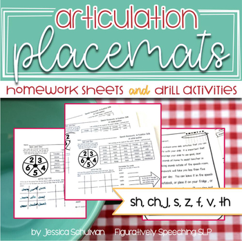 Articulation Placemats: Homework Sheets and Drill Activities #aprilslpmusthave