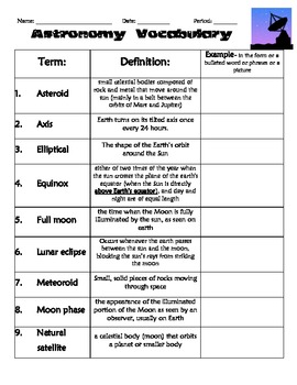 astronomy worksheets - photo #14