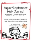 August/September Math Journal Second Grade