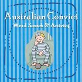 Australian Convict Word Search Worksheet Year 3/4