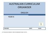 Australian Curriculum Organiser English (editable) - Y4  F