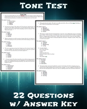 Author's Tone Test with answer key