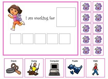 Autism:  Dora the Explorer token board