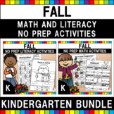 Autumn Kindergarten Language Arts and Math No Prep Workshe