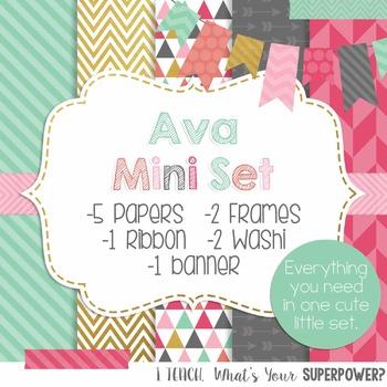 Ava Mini Digital Paper, Frame, and Ribbon Set