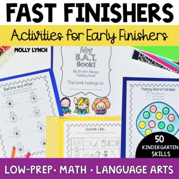 BAT Book for Kinders -50 Common Core Activities for Early Finishers & Free Time!