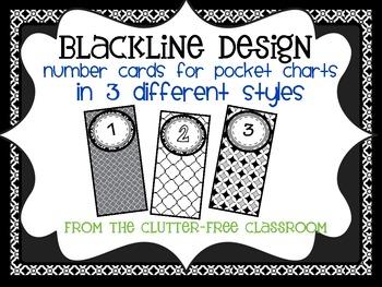 BLACKLINE DESIGN- POCKET CHART NUMBER CARDS for CLASSROOM