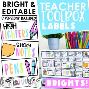 {BRIGHT} Editable Teacher Toolbox Labels
