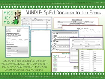 BUNDLE: SpEd Documentation Forms