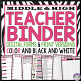 TEACHER BINDER FOR MIDDLE & HIGH (Back To School)- Black &