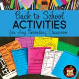 Back to School Activities for Grades 4-12
