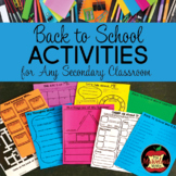 Back to School Activities for Grades 4-12