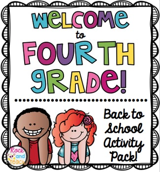 Back to School Activity Packet : Welcome to 4th Grade [NO PREP]