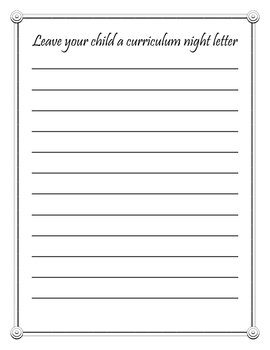 Back to School - Curriculum Night Letter