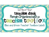 Back to School - Green & Blue Teacher Toolbox or Toolkit Labels