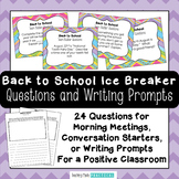 First Day of School: Ice Breaker Question Cards