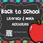 Back to School Literacy & Math Activities