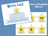 Back to School Night - Wish List