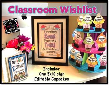 Back to School/ Open House Classroom Wish List: Sweet Cupcake Theme