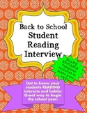 Back to School Student Reading Interview with Editable Template