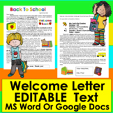 Back to School Welcome Letter First Day With Policies and