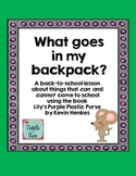 Back to School- What Goes in My Backpack? Lesson