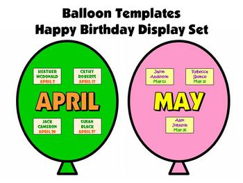 Balloon Birthday Templates:  Happy Birthday Bulletin Board