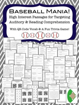Baseball Mania!  High Interest Passages for Auditory & Rea