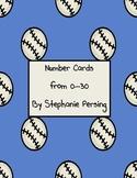 Baseball Number Cards 0-30