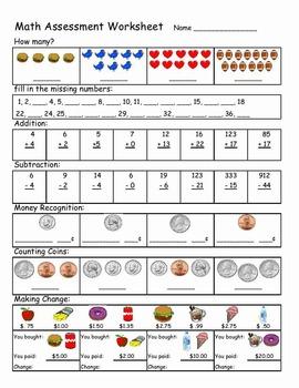 Basic Math Assessment Worksheet