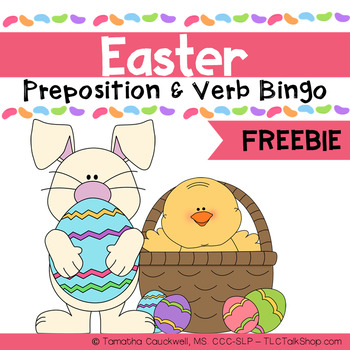 Basic Verbs and Prepositions Easter Bingo