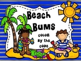 Beach Bums Color by the Code (Addition and Subtraction Fac