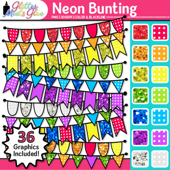 Beautiful Bunting Pennant Banners Clip Art [NEONS]