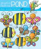 Bees and Butterflies Clipart Set