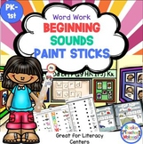 Beginning Sounds with Paint Sticks-Word Work Station