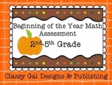 Beginning of the Year Assessment of  Math Skills