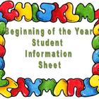 Beginning-of-the-Year Student Information Page