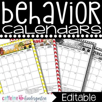 Behavior Calendars FULL YEAR 2015-2016 ***COMPLETELY Editable***