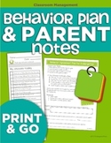 Behavior Plan and Parent Notes