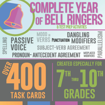 Bell Ringers Task Cards Bundle: Grammar Errors for Language Arts