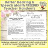Better Hearing and Speech Month FREEBIE: Speech & Language