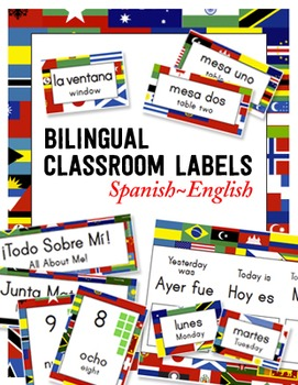 Bilingual Classroom Labels & Signs ~ World Flags {Spanish-
