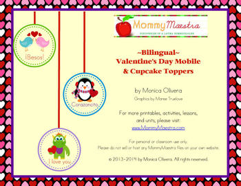 Bilingual Valentine's Mobile & Cupcake Toppers