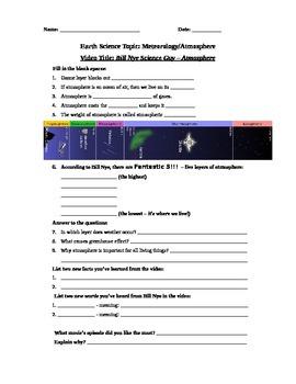 Bill Nye Science Guy Movie - Atmosphere. Video Worksheet &